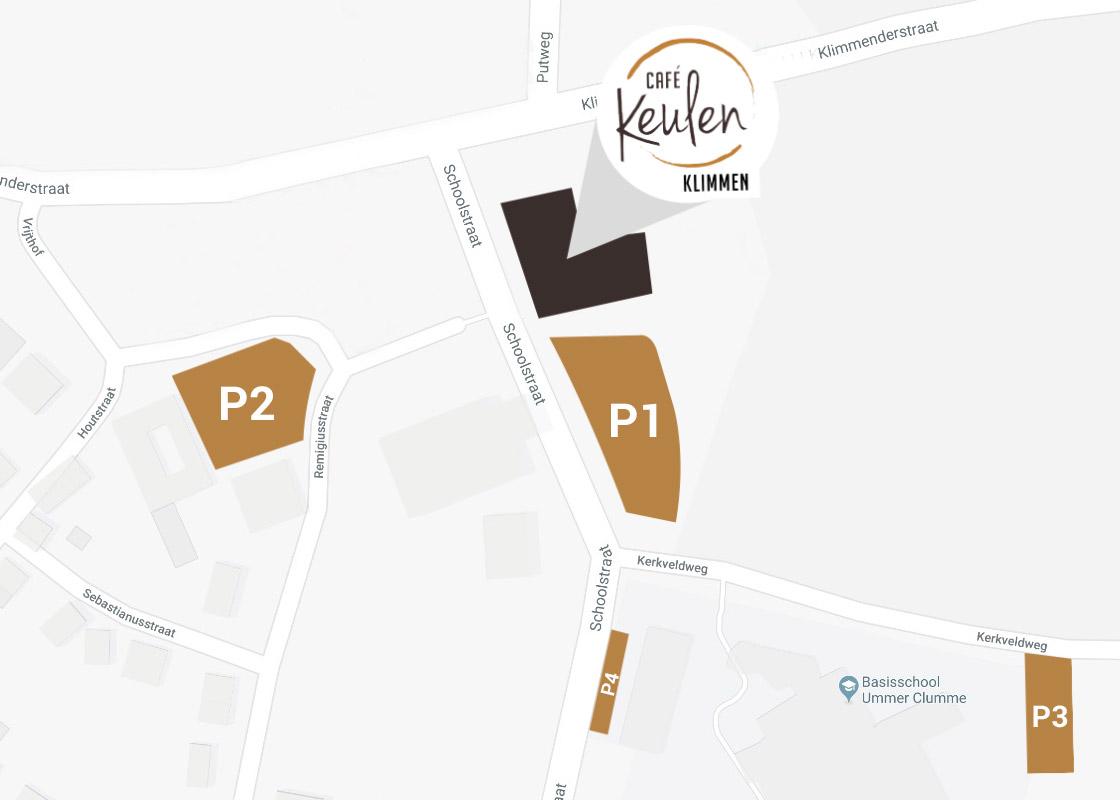 Parkeerplaatsen bij Café Keulen